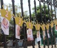 Princesa Girls 1st cumpleaños fiesta decoración rosa oro plata corona hito bandera mensual foto banner Primer Año foto