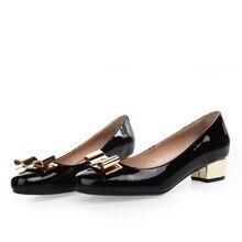 2015 C Haussure F Emmeผู้หญิงยี่ห้อสแควร์ส้นผู้หญิงรองเท้าหนังแท้ปั๊มออกแบบโบว์รองเท้าZapatos Mujer Tacon. DA031