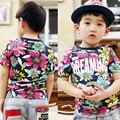 2016 criança do sexo masculino de manga curta menino t-shirt camisa extravagante bonito 100% o - pescoço de algodão camisa básica de fofocas a426