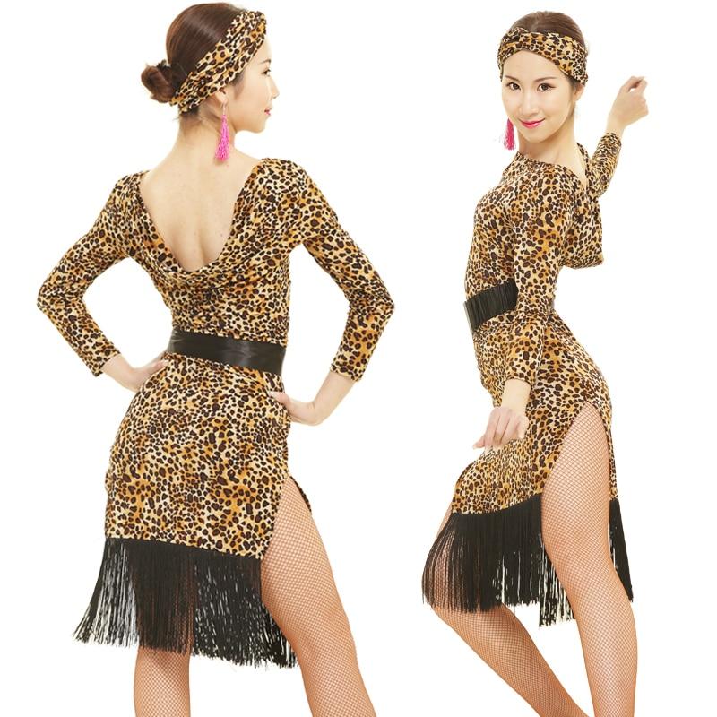 Latin dance dress adult womens with tassel Latin dance Rumba samba Latin dance clothing leopard print dresses women