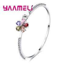 Summer Sale Nice Gift for Women Austrian Crystal Bangle Bracelets 925 Sterling Silver Flower Charms Metal Wedding Jewelry(China)