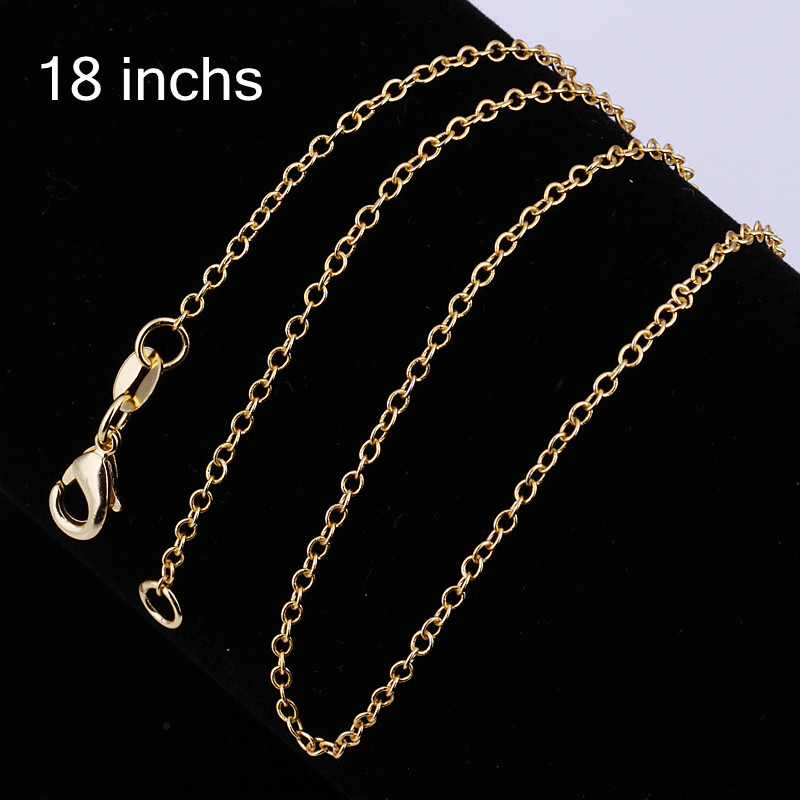 Gold Color Link Chains Necklaces Fit Pendant, European Most Fashion Jewelry Bijoux Rolo Chain Necklaces Soul Gift for Women Men