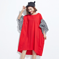 2017 Summer And Spring Women T Shirt Dress Asymmetrical Ruffles Sleeves Pluz Size Dress Loose Round