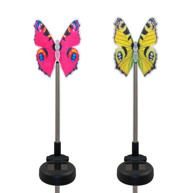 Charmant 2pcs Solar Powered Butterfly Stake Pathway Lights Color Changing Stake Light  Led Lawn Lamp For Garden