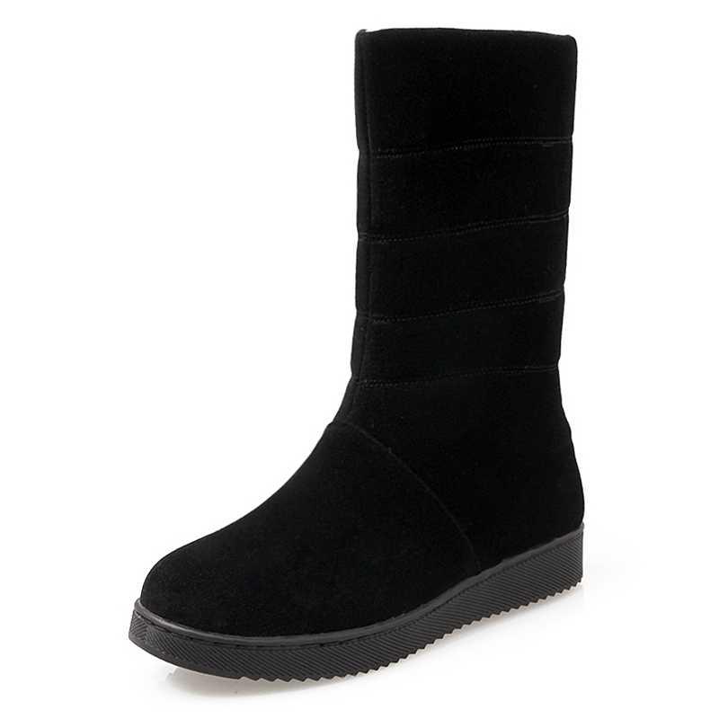 REAVE KEDI Yeni 2018 Kadın botları Kadife Sıcak Kış Kar botları Bayan patik Düz Platformu Kadın Orta Buzağı çizmeler Sevimli A831