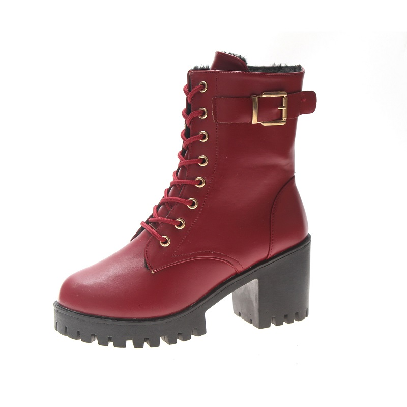 2019 autumn and winter new foreign trade Martin boots thick with lace high heel womens boots wine red 02202019 autumn and winter new foreign trade Martin boots thick with lace high heel womens boots wine red 0220