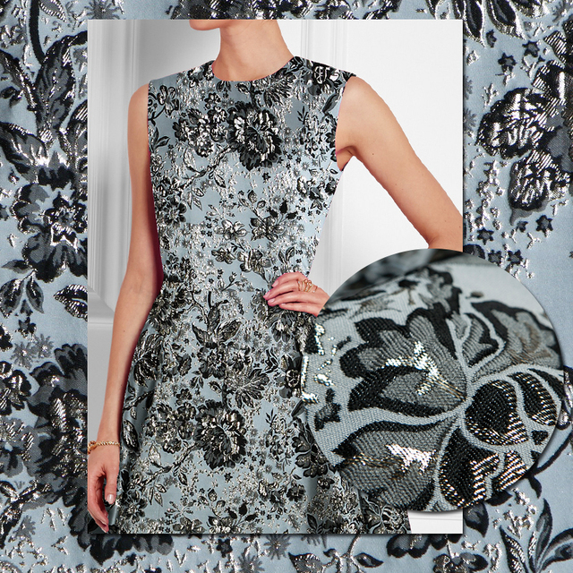 d742eec68d Jacquard gold metallic floral couture fashion fabric, black and gray,  sewing for jacket, coat, dress, skirt, craft by the yard