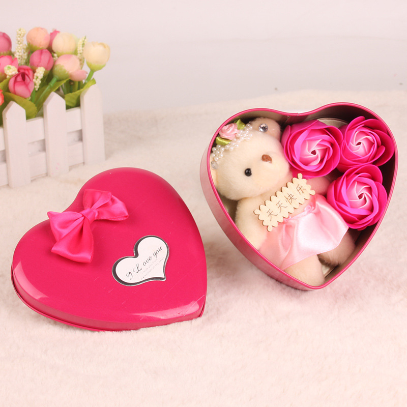 Valentine's Day Present Artificial Flowers Soap Rose with Bear Suprise Wedding Party Decoration Birthday Gift for Woman Wife