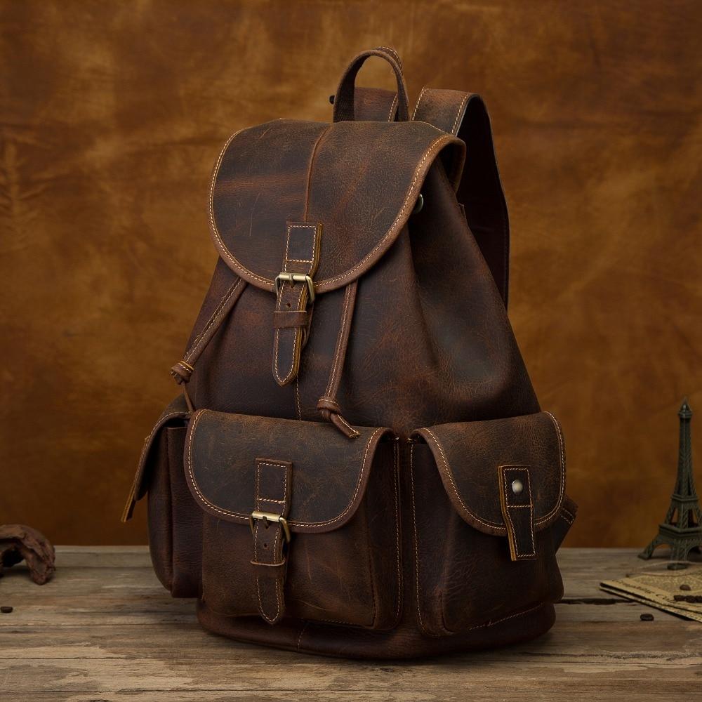 Quality Leather Design Men Travel Casual Backpack Daypack Rucksack Fashion Knapsack College School Student Laptop Bag