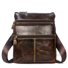 New Male Bag Genuine Leather Messenger Bag Men Leather Shoulder Bags Small Casual Crossbody Bags mini ipad Flap 703