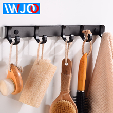 лучшая цена Robe Hooks Bathroom Hook for Towels Clothes Coat Hook Wall Hanger Aluminum Door Decorative Hat Bag Hook Black Bath Accessories