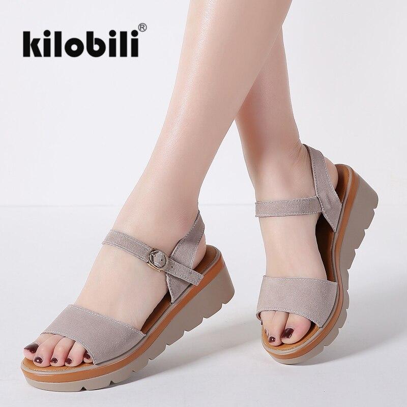 kilobili 2018 Summer Women Flat Platform slippers sandals Shoes slip on Open Toe white genuine leather