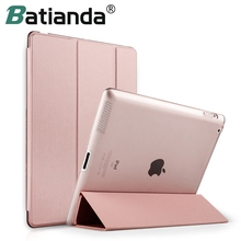 For iPad 2 3 4 Case, Batianda Transparent Back Cover PU Leather Case For IPAD 2/3/4 Trifold Auto Sleep/Wake