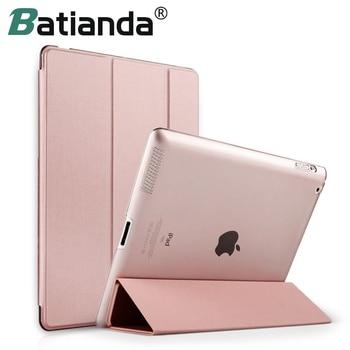 For iPad 2 3 4 Case, Batianda Transparent Back Cover PU Leather Case For IPAD 2/3/4 Trifold Auto Sleep/Wake