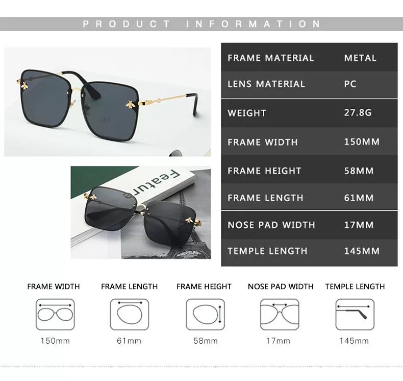 2021 New Lady Oversize Rimless Square Bee Sunglasses Women Brand Fashion Small Bee Gradient Sun Glasses Female UV400