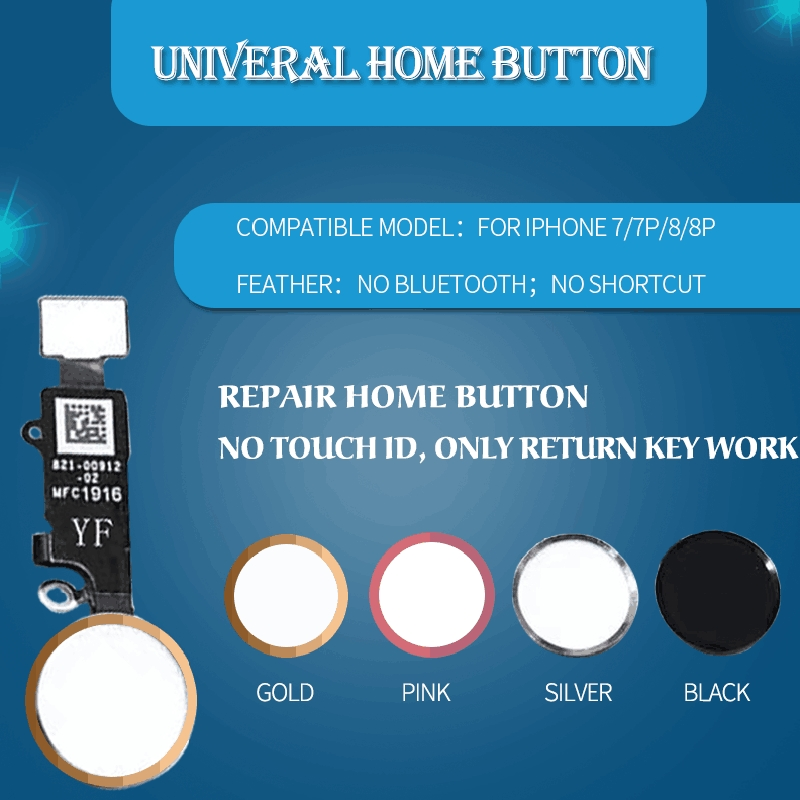 YF Repair Universal Home Button Flex For IPhone 7 8 Plus Return Menu Homebutton For IPhone 7+ 8+ 7P 8P No Bluetooth Fix Replace