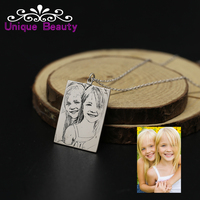 Personalized Photo Necklace Engraved Tag Custom Photo Memory Necklace 925 Solid Silver Portrait Picture For Men