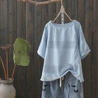 Solid color hook flower hollow cotton shirt blouse 2019 summer