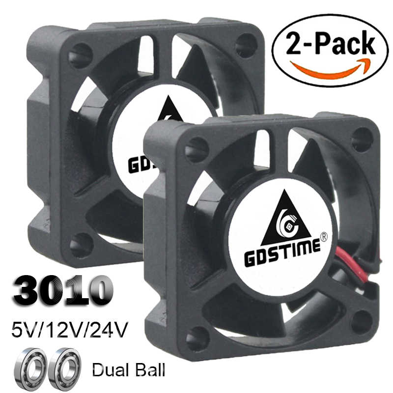 2PCS Gdstime Dual Ball Bearing DC 24V 12V 5V 3cm 30 มม.30x30x10 มม.3010 Brushless Mini Cooler Cooling พัดลม