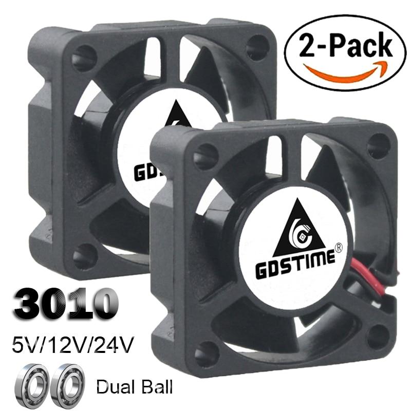 2PCS Gdstime Dual Ball Bearing DC 24V 12V 5V 3cm 30mm 30x30x10mm 3010 Brushless Mini Cooler Cooling Fan