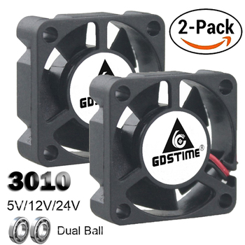 2PCS Gdstime Dual Ball Bearing DC 24V 12V 5V 3cm 30mm 30x30x10mm 3010 Brushless Mini Cooler Cooling Fan 5pcs gdstime 2pin 12v 3010 30x30x10mm 30mm ball bearing small brushless dc cooler cooling fan