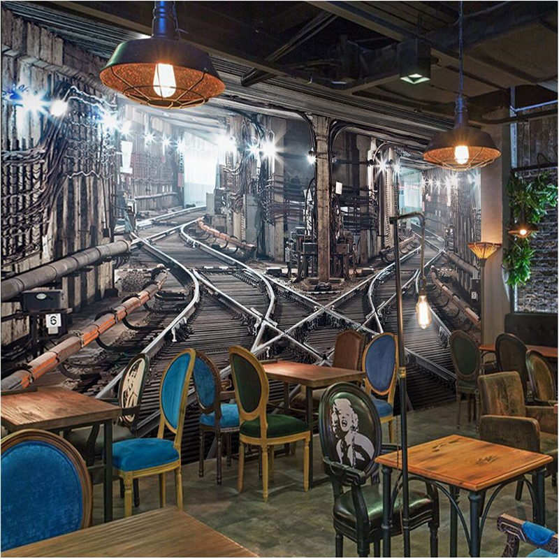 beibehang Large Custom Wallpaper Mural 3D Stereo Railway Tunnel Retro Background Wall papel de parede 3d papel de parede beibehang custom photo wallpaper mural 3d stereo jewelry flower twig tv background wall papel de parede 3d wall papers home deco