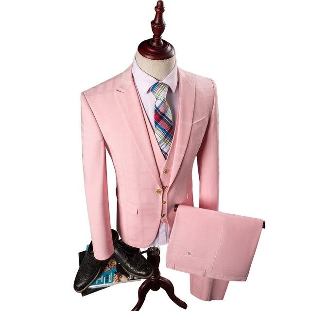 3 Piezas de Color Rosa Traje de Los Hombres de Moda Slim Fit Solid ...