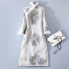 Китайский стиль, новинка, зимняя женская мода, стоячий воротник, длинный рукав, натуральный мех кролика, плюс бархат, толстая вышивка, платье, теплое платье