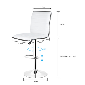 Image 5 - JEOBEST 2 יח\סט לבן/שחור בר כיסא עור מפוצל מסתובב בר שרפרף גובה מתכוונן מטבח דלפק פאב פסים כיסא HWC