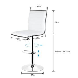 Image 5 - JEOBEST 2pcs/Set White/black Bar Chair PU Leather Swivel Bar Stool Height Adjustable Kitchen Counter Pub Striped Chair HWC
