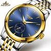 AESOP Brand Men Watches Men Luxury Automatic Mechanical Wristwatch Gold Golden Stainless Steel Male Clock Relogio