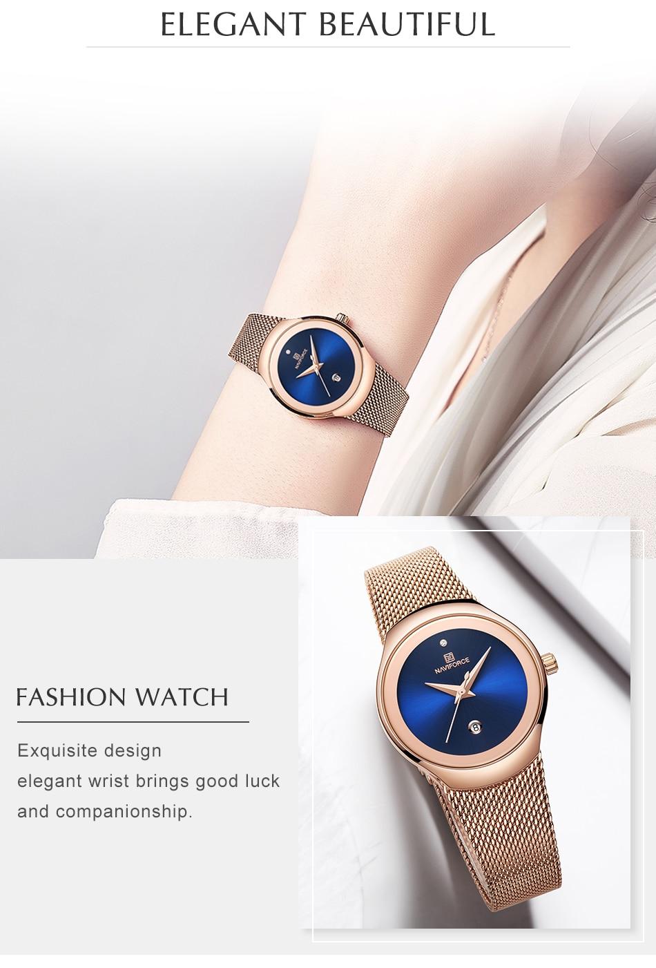 NAVIFORCE Top Luxury Brand Women Watches Female Fashion Simple Quartz Watch Ladies Classic Stainless Steel Mesh Belt Wrist Watch 6