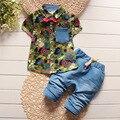 BibiCola crianças moda verão conjuntos de roupas de bebê meninos meninas arco 2 pcs camuflagem esporte terno conjuntos de roupas meninos meninas de verão conjunto