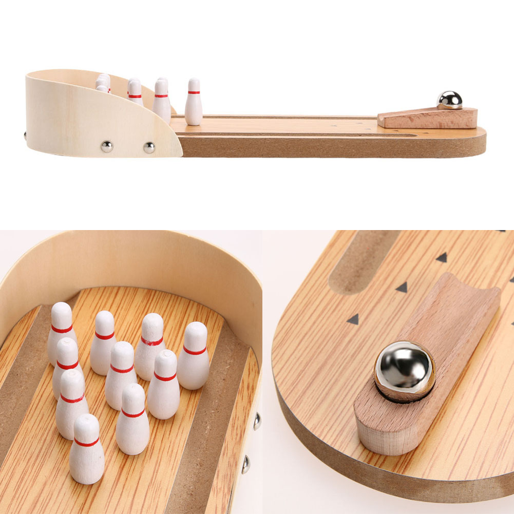 Mini Wooden Desktop Bowling Sports Interactive Game Fun Toy Baby Kids Creative Intelligence Development Gift Toys