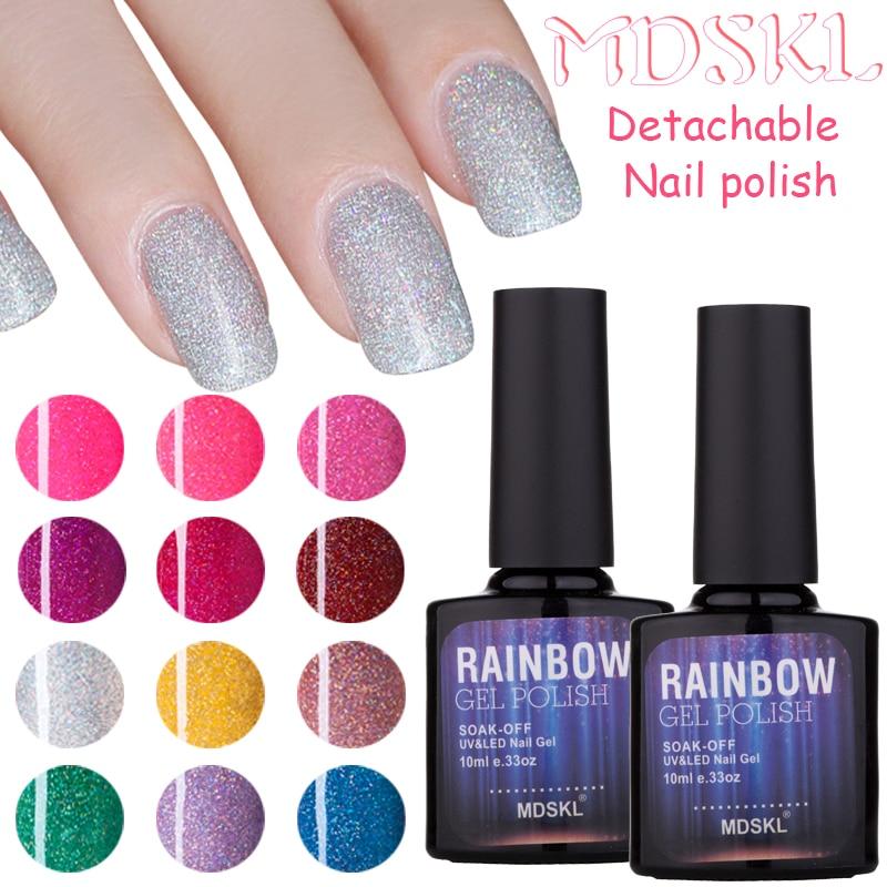 MDSKL 10ml/bottle Rainbow Gel Polish Soak Off UV Colorful Nail Colors Art For Gel Nail Polish Long-lasting Gel