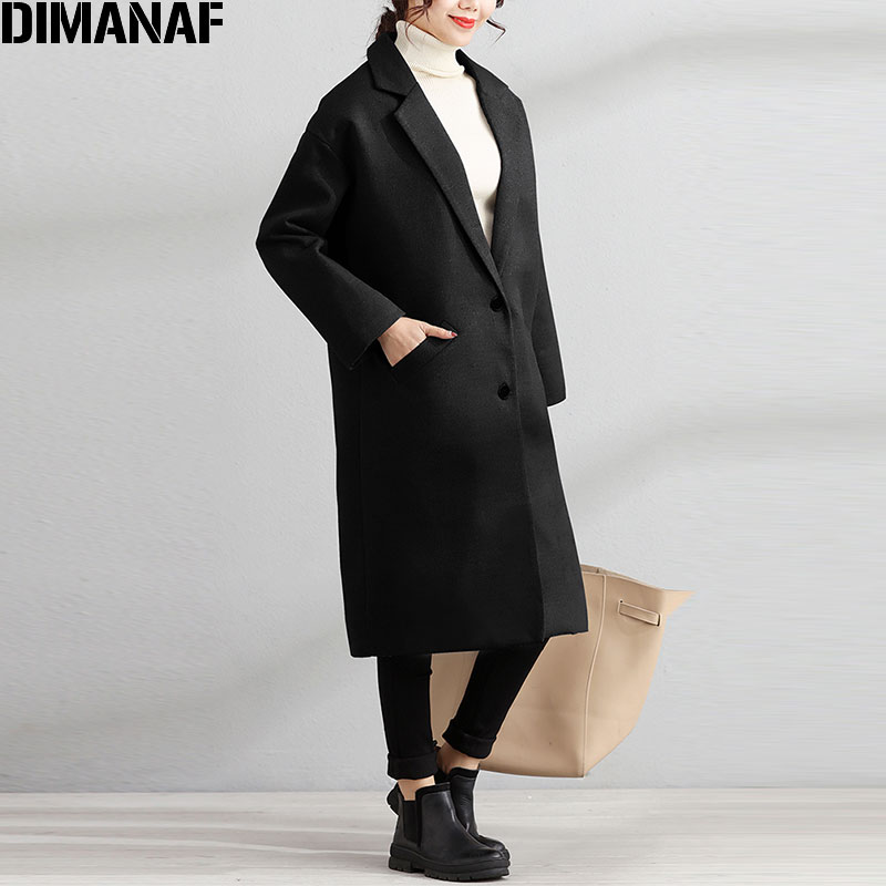 DIMANAF Women Woolen Coat Plus Size Winter Warm Cardigan Office Lady Lapel Coats Fashion 2017 Solid New Outerwear Parka Coats