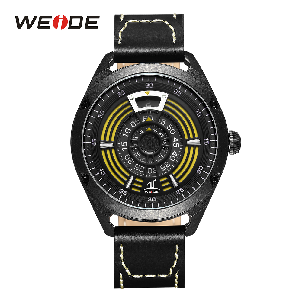 WEIDE Men's Sport Analog Digital Display Quartz Watch Black and Yellow Leather Band Stainless Steel Case Water Resist Wristwatch hot sell weide luxury brand fashion men sport watch analog digital display 30m waterproof stainless steel strap with white dial