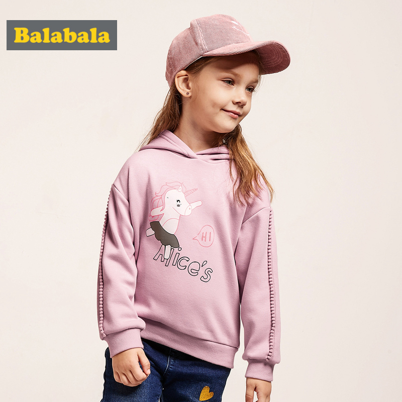 Balabala Toddler Girl Fleece-Lined Hooded Sweatshirt with Motif Kids Pullover Hoodie with Pompom at Sleeve Ribbed Cuff and HemBalabala Toddler Girl Fleece-Lined Hooded Sweatshirt with Motif Kids Pullover Hoodie with Pompom at Sleeve Ribbed Cuff and Hem