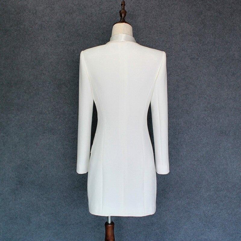 Mince White Châle Travail Double Bureau Formelle Blazer Veste Blanc Breasted Printemps Automne De black Rasoir Col Dames Longue Têtes Femmes Satin HwFvaq8