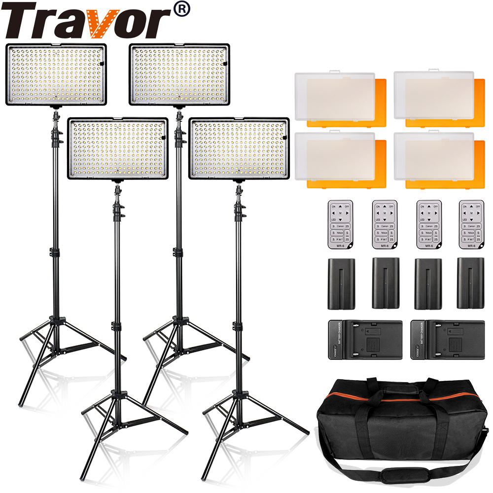 LED Video Light Kit 4 in 1 24W 3200K 5500K 240pcs Led Camera / Camcorder Video Light Panel with battery for Canon Nikon Pentax 1 4 lcd 6 led white light video lamp for camera camcorder 4 x aa