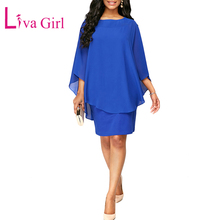 LIVA GIRL Casual Chiffon Overlay Plus Size Dress Women Layered Ruffle Sleeve O-Neck Bodycon Mini Dress Black/Blue Big Size S-XXL plus size lace panel overlay dress