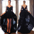 Top Quality Fashionable 2015 Half Sleeve Hi Lo Affordable Vintage Black Lace Prom Dresses Elegant Vestidos De Fiesta