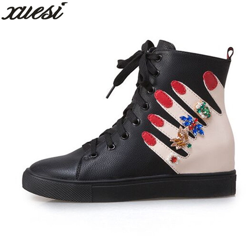 XUESI Women Shoes Boots Winter new round headdress lace diamond fashion Martin boots Ankle Boots For Women Zapatos De Mujer