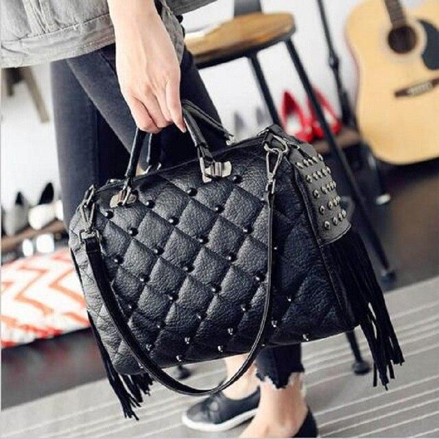 2016 Trendy Designer Tote Bags Studs Large Capacity Tassel Boston Bag  Fringe Women Big Punk Hand b470fc79dd2a9