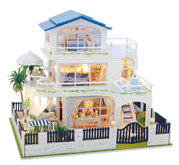 Assembling DIY Miniature Model Kit Wooden Doll House Romantic Provence House Toy with Furnitures & Convertible Gift for Girl mylb assembling diy miniature model kit wooden doll house paris apartment house toy with furnitures