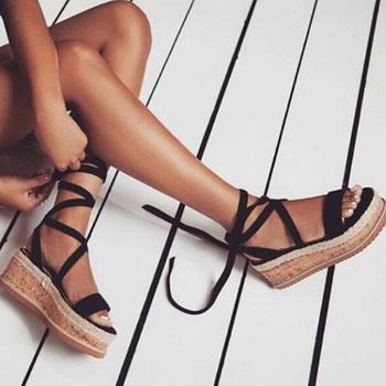 Letnie kliny espadryle kobieta sandały Open Toe rzym buty Gladiator sandały damskie Casual zasznurować kobiece sandały platformy tanie i dobre opinie GAOKE Flock Otwarta RUBBER Wysoka (5 cm-8 cm) 3-5 cm Na co dzień Lace-up Pasuje prawda na wymiar weź swój normalny rozmiar