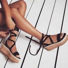 Summer Wedge Espadrilles Woman Sandals Open Toe Rome Shoes Gladiator Sandals Ladies Casual Lace Up Female Platform Sandals