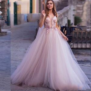 Image 3 - 로브 드 mariage 웨딩 드레스 2019 홀터넥 민소매 구슬 레이스 applique 신부 가운 가운 드 mariee 환상 뒤로