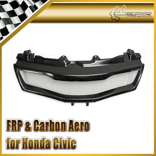 EPR Car Styling FRP Fiber Glass Type R Front Grill Fiberglass Mesh Grille Fit For Honda 2007-2011 Civic FN2 epr car styling for nissan skyline r33 gtr type 2 carbon fiber hood bonnet lip