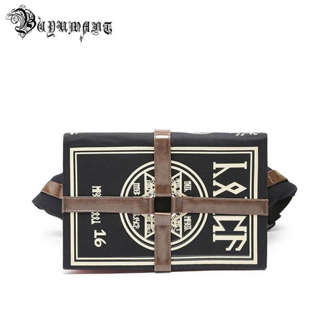Buyuwant Canvas Shoulder bag Gothic book shape Messenger bag Cartoon Magic book student bag women punk handbag BW01 SB mfhxzb